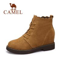 camel骆驼女靴 2017冬季新款 时尚复古马丁靴女 英伦风系带绒里短靴子