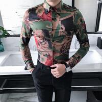 秋冬长袖衬衣常规修身潮青少年扣领尖领男士衬衫秋季韩版