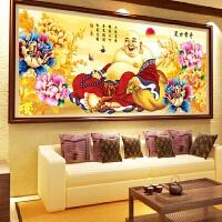 大幅笑口常开弥勒佛和气生财砖石画十字绣花开富贵钻石画满钻客厅