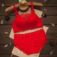 蕾丝大红色小胸无钢圈聚拢女士内衣套装本命年文胸新娘胸罩 大红色 9260无钢圈