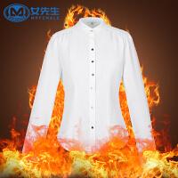 女先生春白衬衫女长袖修身职业装OL加绒加厚打底OL衬衣工作服