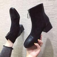 短靴女方跟2019秋冬季新款英伦风复古方头前拉链马丁靴粗跟女靴子