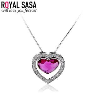 皇家莎莎925银项链女银饰品韩版爱心形锁骨链吊坠首饰品生日礼物送女友