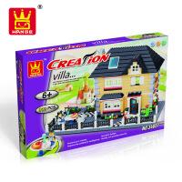 万格乐博士新款别墅建筑塑料积木玩具益智拼装