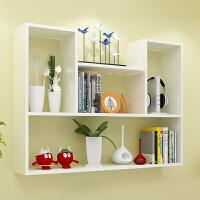 墙上置物架免打孔壁挂式壁柜墙壁挂墙面卧室隔板书架储物简约装饰 白色凹型升级款L型架子