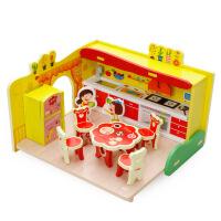 3D拼装过家家厨房玩具宝宝厨具餐具套装儿童木制益智拼图玩具