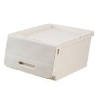 收纳箱 斜口加厚可叠衣物整理箱儿童玩具储物箱大号透明翻盖塑料箱 单个(40.5*38.5*23.5cm)