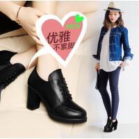 古奇天伦高跟鞋粗跟新款夏季百搭韩版春季单鞋红色婚鞋黑色英伦风女鞋F7885