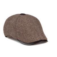 秋冬季中老年人真皮帽男士毛呢前进帽休闲贝雷帽保暖棒球帽子