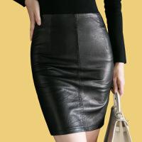 黑色pu皮裙半身裙包臀裙2018秋季新款短裙一步裙包裙开叉高腰裙子 黑色