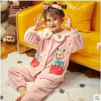 秋冬季加厚款珊瑚�q中大童����法�m�q女童保暖家居服套�b�和�睡衣