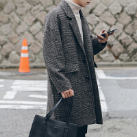 2018新品冬季英伦风复古格子落肩毛呢大衣男中长款韩版青年宽松呢子外套潮 咖啡色 夹棉