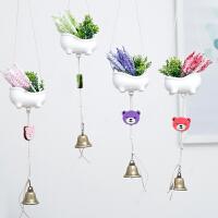 创意可悬挂仿真薰衣草盆栽吊饰房间装饰品挂件幼儿园小熊风铃挂饰