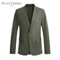 太平鸟男装 100%棉西装男韩版外套商务休闲纯色西服男B1BB81401