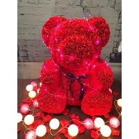 七夕送女友香皂花小熊玫瑰熊永生花生日巨型熊7情人节礼物抱抱熊 pe 70cm红色