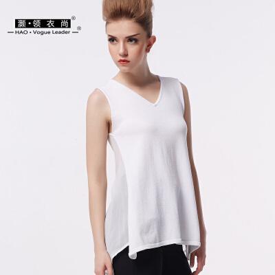 2017新款V领时尚女士薄款拼接雪纺针织衫上衣