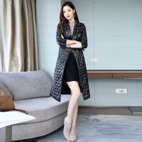 pu皮chic女中长款过膝2018冬季新款加厚韩版收腰女士棉衣棉袄