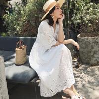镂空蕾丝短袖孕妇夏季连衣裙孕妇夏装时尚新款韩版怀孕期潮妈裙子