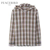太平鸟男装 男士拼接长袖衬衫大帽子条纹潮流衬衫B2CA71468