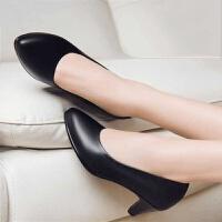 低跟工作鞋黑色百搭中跟单鞋正装皮鞋空姐矮跟职业鞋工装通勤女鞋