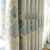 欧式绣花窗帘成品定制客厅北欧简约卧室遮光3米高窗帘布大气
