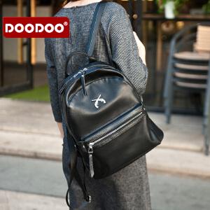 【支持礼品卡】DOODOO 双肩包女韩版百搭女士包包女包休闲大容量双肩背包女旅行包 D6137