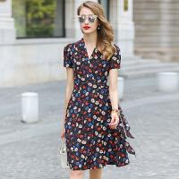 2017夏季新款修身桑蚕丝短袖真丝连衣裙中长款女装裙子V领花色1861