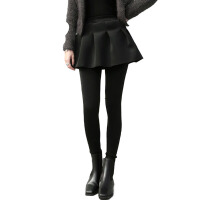 秋冬修身显瘦踩脚加绒假两件打底裤裙女百褶裙裤子