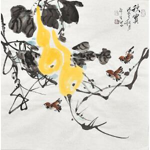 河南省书画家协会会员康一生四尺斗方花鸟画gh03837