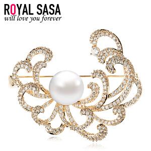 皇家莎莎花朵胸针女仿水晶胸花别针韩国版衬衫外套项链两用配饰品