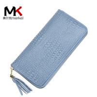 莫尔克(MERKEL)新款时尚鳄鱼纹女士真皮拉链手机钱包头层牛皮长款流苏手拿包