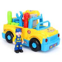 汇乐789电动组装益智拆装拆卸螺丝螺母组合工具车工程车男孩玩具