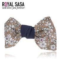 皇家莎莎RoyalSaSa刘海夹一字夹复古手工碎花蝴蝶结发夹边夹侧夹发饰头饰