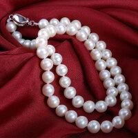 淡水珍珠项链正品 强光近正圆珍珠项链妈妈款送婆婆锁骨项链 近圆珍珠项链