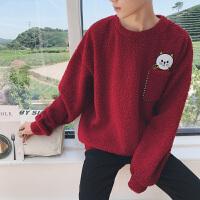 秋季 毛绒套头卫衣男潮韩版青少年宽松休闲小猫刺绣外套