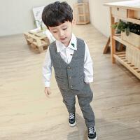 儿童西服男童小西装套装帅气英伦风礼服韩版休闲宝宝马甲两件套潮