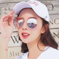 明星同款眼镜新款圆形彩色太阳镜女圆脸复古眼镜