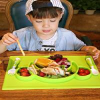 【当当自营】萌宝(Cutebaby)一体式便携硅胶儿童餐具 绿猴
