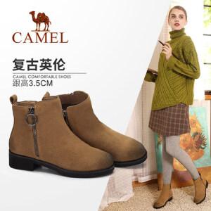 camel/骆驼女鞋2017秋冬新款复古方跟短筒靴子擦色百搭中跟加绒保暖女靴