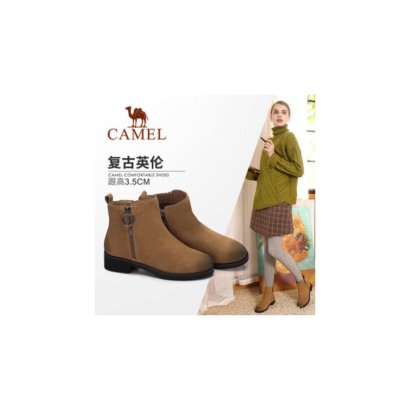 camel/骆驼女鞋 秋冬新款复古方跟短筒靴子擦色百搭中跟加绒保暖女靴