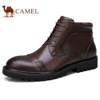 camel 骆驼男鞋 秋冬新品商务休闲复古加绒保暖真皮商务短皮靴