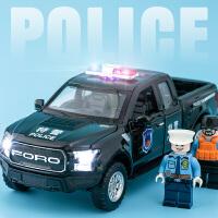 警车玩具汽车模型仿真合金救护车警察车开门回力车儿童玩具车
