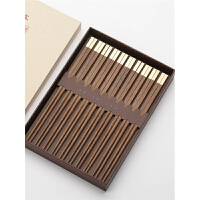 实木鸡翅木质快子 套装礼盒 红木筷子家用10双家庭装