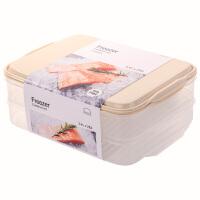 乐扣乐扣密封保鲜盒冰箱冷冻分隔饺子盒大容量储物收纳盒 米色【3.4L X2】