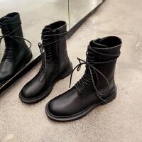 帅气马丁靴女英伦风厚底皮面2019秋季网红新款黑色系带中筒骑士靴 黑色