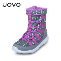 UOVO女童棉靴冬季新款儿童靴子潮中大童冬季童鞋雪地保暖冬靴 温哥华