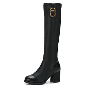 camel/骆驼女鞋 秋冬新款 时尚长靴高跟长筒靴金属装饰摩登骑士靴