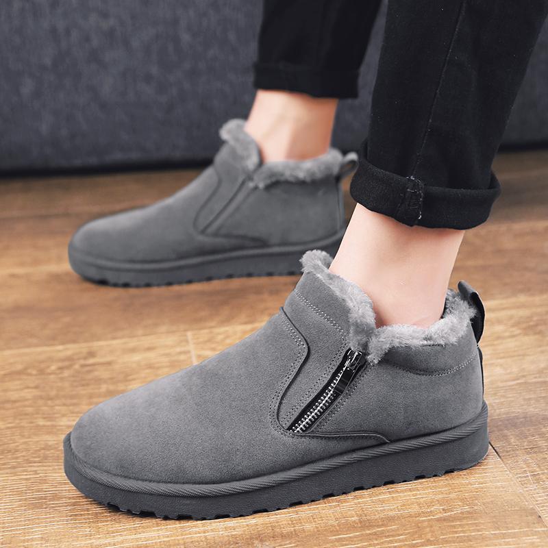 冬季雪地靴子男加绒保暖2018新款潮流百搭东北棉鞋中筒高帮马丁靴