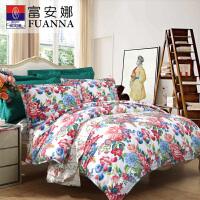 [当当自营]富安娜(FUANNA)家纺床品套件 纯棉斜纹床上四件套床单被套花舞爱恋1.8米床(230*229cm)米白