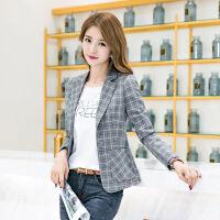格子西装外套女韩版2019春秋修身显瘦长袖休闲气质小西服短款